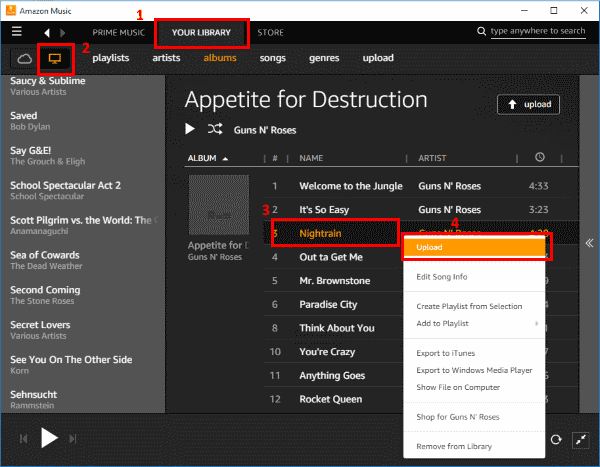 Transferring Converted Music via Uploading Music to Amazon Cloud