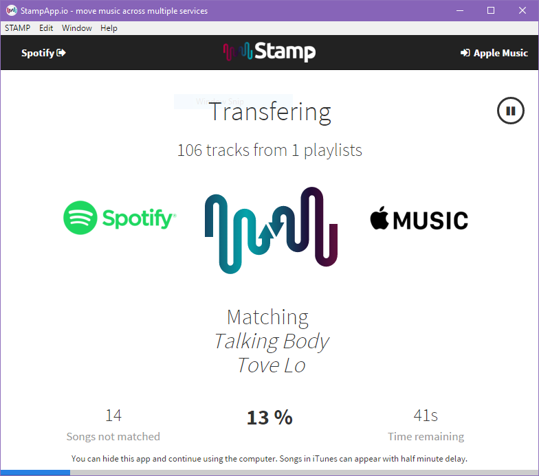 Transfer Apple Music To Spotify Online With Stamp